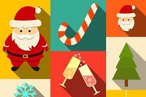 Set og christmas flat icons