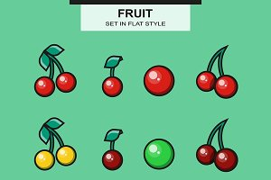 Cherries set in flat style
