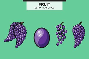 Set of grapes in flat style