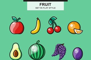 Fruit set in flat style