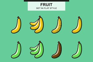 Bananas set in flat style
