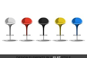 Set of colored stools in flat style