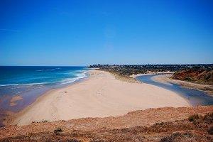 River to Ocean Beach Seaside Stock