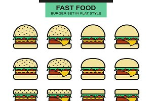 Different burgers set in flat style