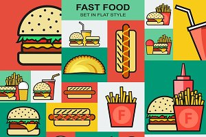 Retro icons set with fast food