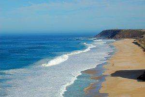Lighthouse Horizon Ocean Beach Stock