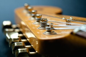 Guitar headstock close-up