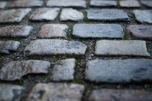 Closeup of cobblestone street