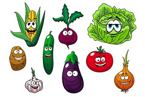 Fresh tasty cartoon vegetables