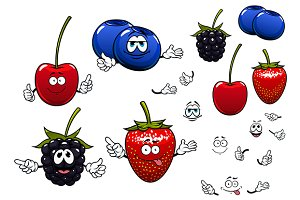 Sweet garden fruits cartoon