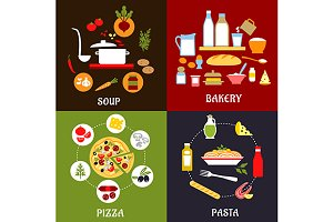 Cooking process flat icons