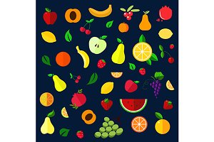 Ripe fruits and berris flat icons