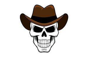 Spooky cowboy skull in hat
