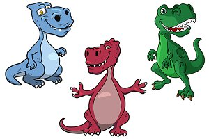 Blue, green and red t-rex dinosaurs