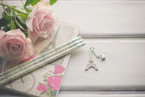 Little Paris charm with Pink Roses