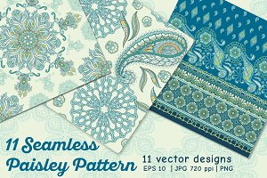 11 Paisley Seamless Patterns