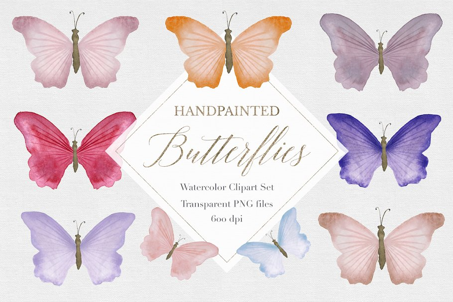 Watercolor butterfly. Clipart
