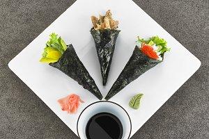 Three Temaki Hand Roll Sushi