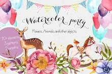 Lil' party Watercolor graphics