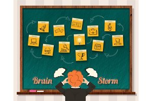 Brainstorm. Man and Blackboard