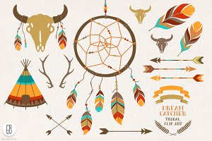 Dream catcher, buffalo skull, arrows