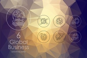 6 Global Business line icons