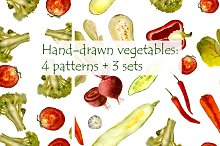 Hand-drawn watercolor vegetables