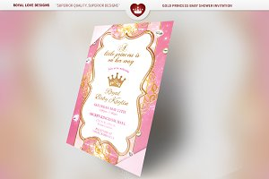 Gold Princess Baby Shower Set