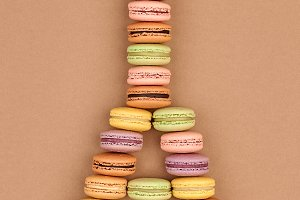 Macaron.Eiffel Tower french colorful