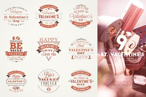 Set of 9 St. Valentine's Badges