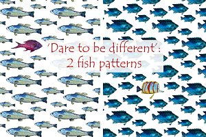 2 hand-drawn fish patterns