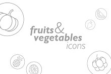 Linear FRUITS and VEGETABLES icons