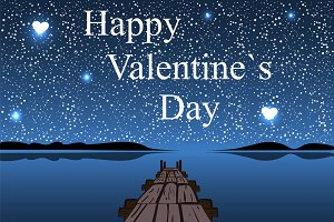 Happy Valentines day night water