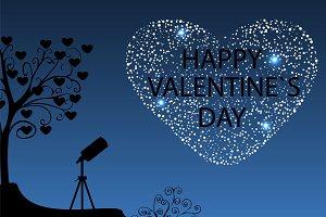 Happy Valentines day starry sky