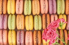 Macarons, background.French colorful