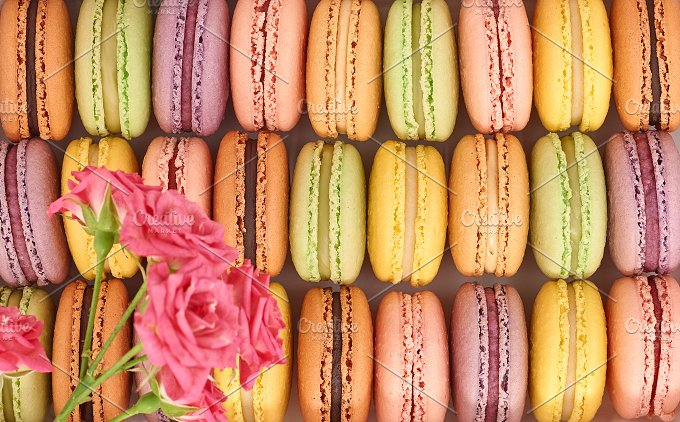 Macarons, background.French colorful - Food & Drink
