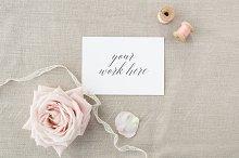 Wedding card invitation mock up
