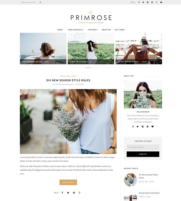 La Primrose - Wordpress blog theme