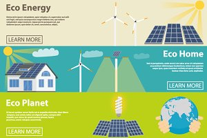 Eco energy horizontal banner set