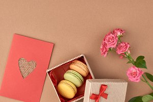 Valentines Day. Love heart, macarons