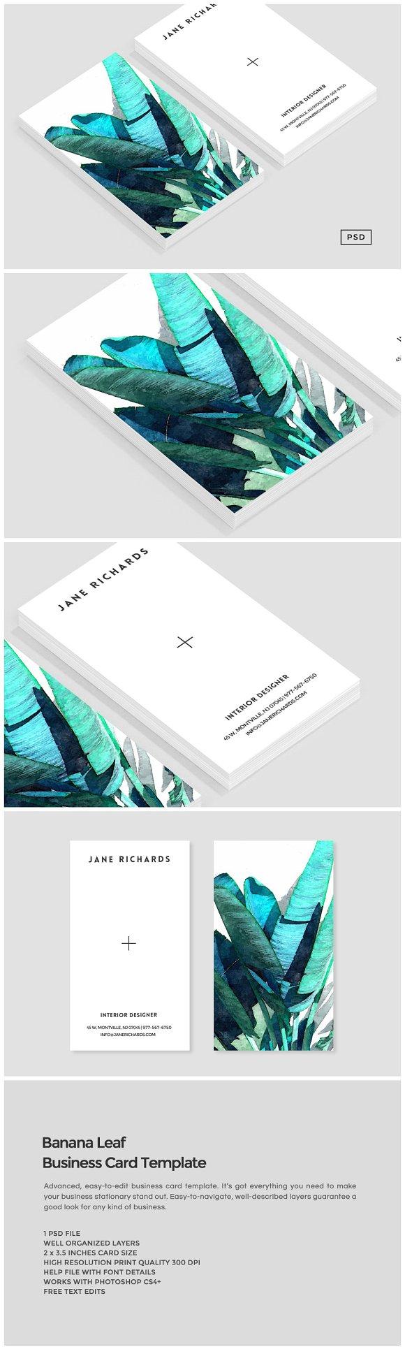 Banana leaf business card template business card for Creative interior design name card