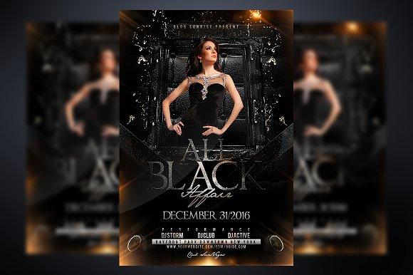 all black affair flyer templates creative market