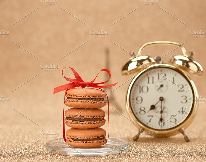 Macarons. Gold alarm clock,breakfast - Arts & Entertainment