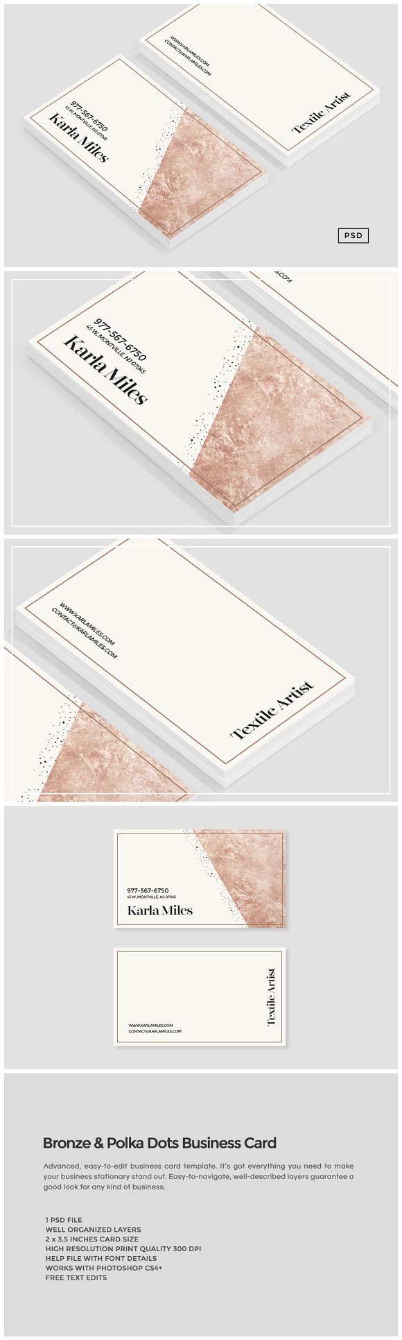 Bronze polka dots business card business card templates bronze polka dots business card business card templates creative market reheart Gallery