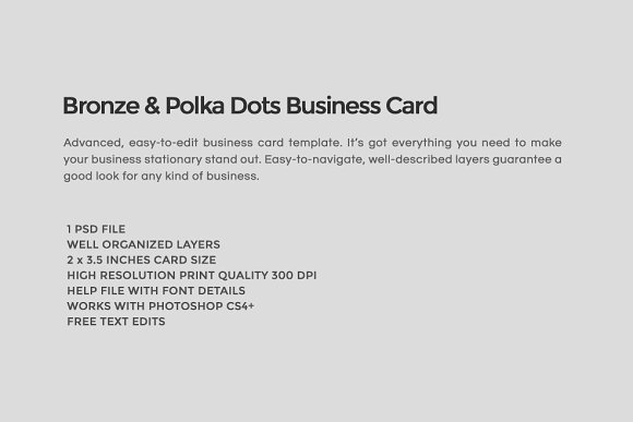 Bronze polka dots business card business card templates bronze polka dots business card business card templates creative market reheart Images