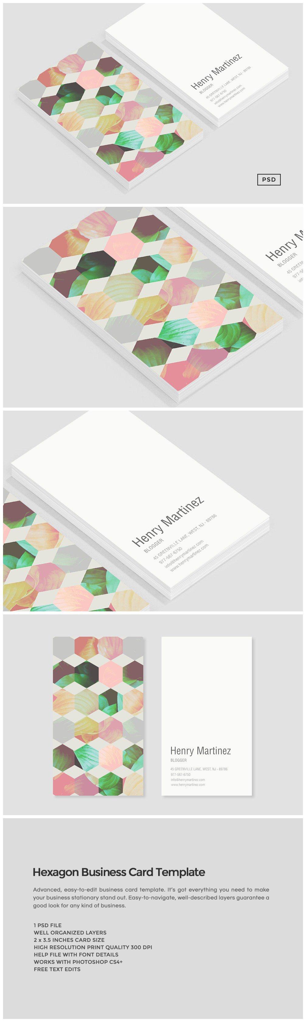 Hexagon Business Card Template ~ Business Card Templates ~ Creative ...