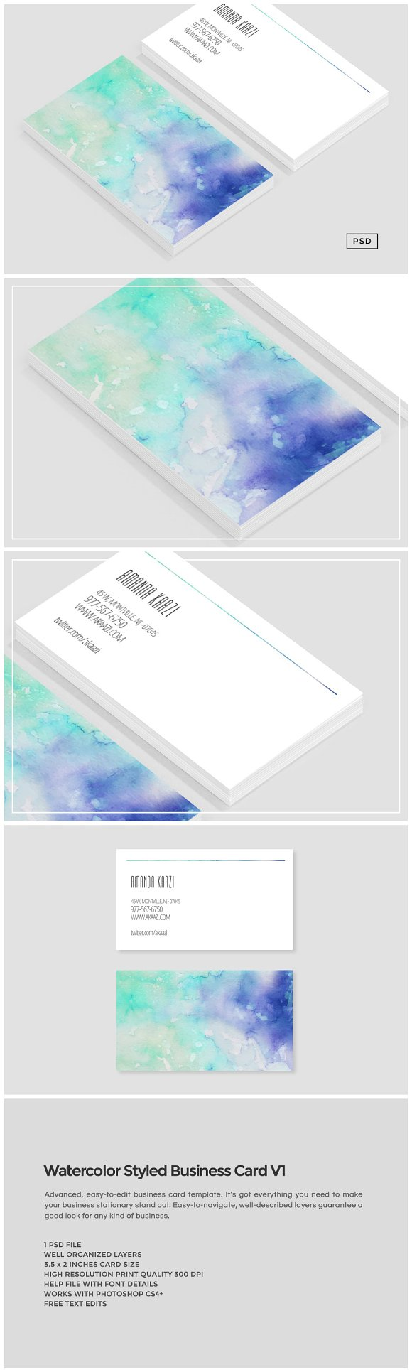 Watercolor styled business card v1 business card templates watercolor styled business card v1 business card templates creative market reheart Image collections