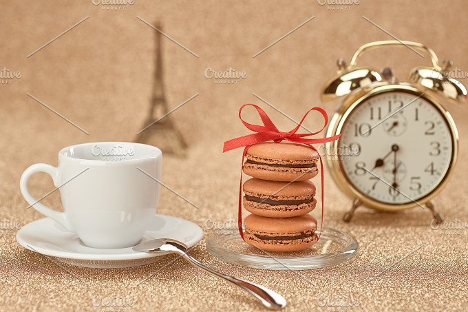 Macarons,cup coffee,gold alarm.Love  - Arts & Entertainment