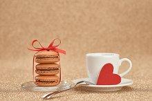 Macarons, red heart,cup coffee.Love