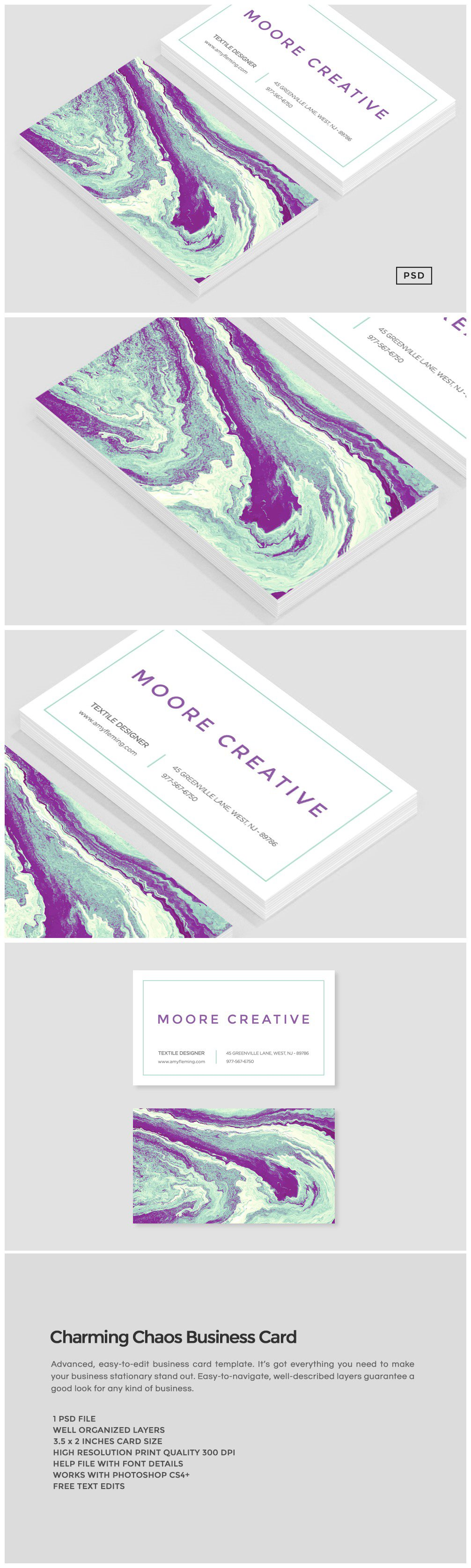 Charming chaos business card business card templates creative market reheart Gallery
